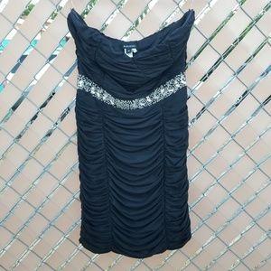 NIKIBIKI strapless dress w/rhinestone detail.